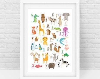 Alphabet Animals print – Nursery wall art, ABC print, Baby and kids room print, Instant Digital Download, Scalable Printable - All sizes