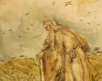 Companion on the Weary Road Original Painting Pilgrim Wanderer Sage Monk Spiritual Art Symbolism Life Toils Joy Sorrow Perseverance Courage