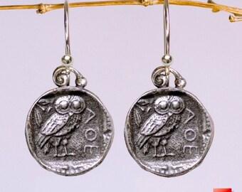 925 Sterling Silver Owl Coin Earrings, Sterling Silver Greek Owl Coin Earrings, Earrings, Silver Athena Owl Coin Earrings, Owl Coin Earrings