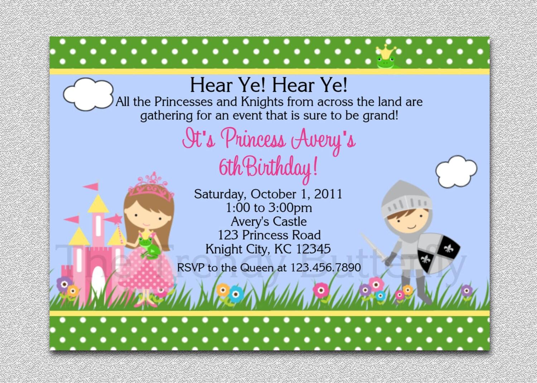 Princess Knight Party Invitation Princess Knight Birthday
