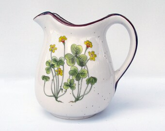 Mid Century Stoneware Pitcher with Printed Clover Design