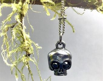 Totenkopf Anhänger Halskette, gotische Halloween