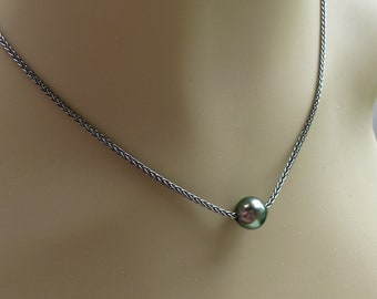 Dreamy Affordable Baroque Tahitian Pearl Necklace 2 Keshi Green Bronze Teal Blackened Sterling Silver Chain Heart Clasp Minimalist Casual