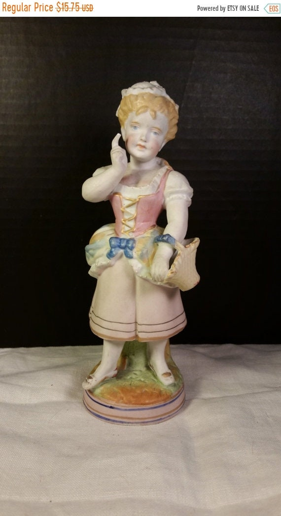 Sale Clearance Bisque Flower Maiden Figurine with Basket Victorian Vintage Girl Lady Figurine Shabby Chic Porcelain Girl Figurine Country Fr