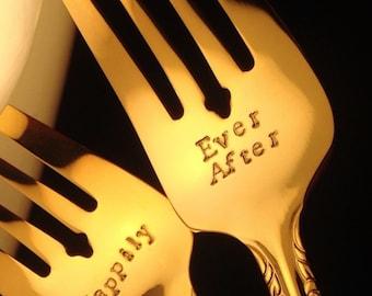 HAPPILY EVER AFTER Forks, Wedding Forks with Date, Stamped Gold Forks, Personalized Forks, Custom Cake Fork Set, Fairy Tale Wedding Decor