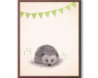 Hedgehog Nursery Decor, Woodland Nursery Art, Green and Gray, Gender Neutral Baby, Nursery Art, Hedgehog Print - H116