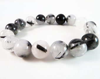 Black Tourmaline Rutilated Quartz Stretch Bracelet 12mm Round Bead Bracelet