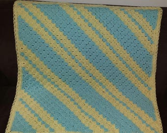 Baby Afghan Blanket - Striped yellow and blue