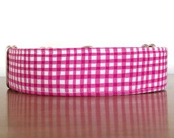 Dog Collar, Dog Collars, Pink Dog Collar, Plaid Dog Collar, Girl Dog Collar, Martingale Dog Collar, Buckle Dog Collar, Fabric Dog Collar