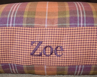 Dog Bed * Plaid and Houndstooth Limited Edition * Personalize with Name * Medium Large * Custom Flannel Cover * Purple Green Peach Lavender