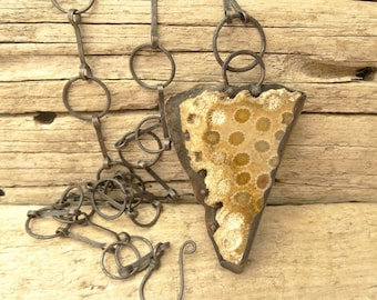 Rough Fossil Coral Slab Necklace Copper Pendant