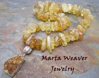 Glistening Druzy Quartz and Citrine Gemstone Necklace with Thai Silver, Free Shipping, Christmas, Birthday, Anniversary Gift