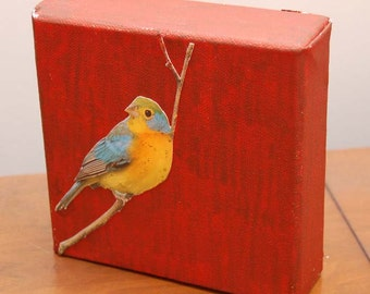 Little Bird collage Acrylic on Canvas 6x6