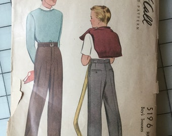 1943 McCall 5196 Boy's Trousers Pattern Size 12 - Cut, But Complete