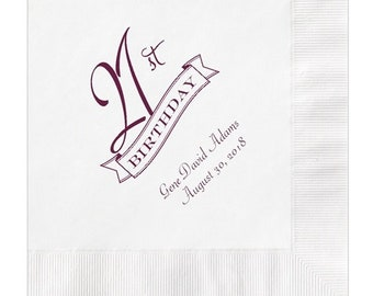 21st Birthday Party Napkins Personalized Set of 100 Napkins Twenty First