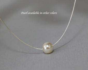 Solitary Pearl Necklace, Floating Pearl Necklace, Swarovski 8mm Ivory Cream Pearl on Sterling Silver Necklace Chain, Bridesmaid Necklace