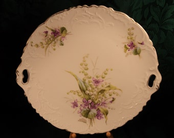 Vintage CT Germany Carl Tielsch Serving Platter Tray Hand Painted Flowers