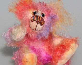 Little Schubert is an adorably colourful and sweet, one of a kind artist bear in scrumptious hand dyed mohair by Barbara-Ann Bears