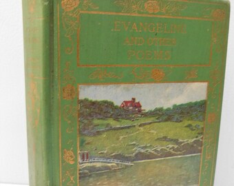 Victorian Evangeline & Other Poems by Henry W. Longfellow A Tale of Arcadie Poetry Poem Antique Book Illustrated Fine Binding