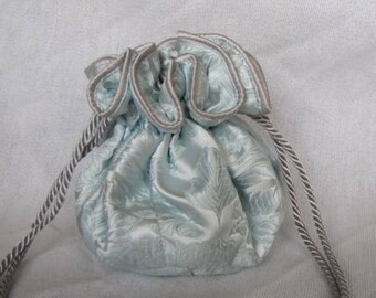 Brocade Jewelry Bag - Luxury Size - Drawstring Jewelry Pouch - ICE QUEEN