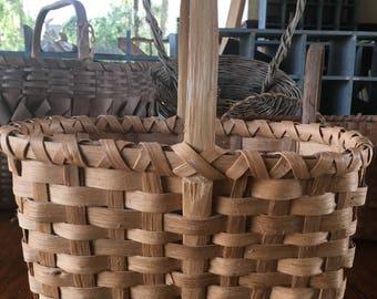 Handmade Splint Basket-Vintage Heavy Sturdy Basket-Gorgeous !