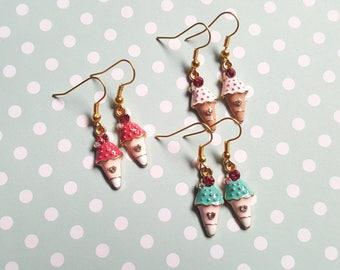 Ice cream earrings, Rhinestone earrings, Dangle earrings, Ice cream, Ice cream cone, Summer jewellery, Holiday jewellery, Beach, Seaside