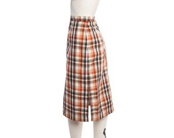 Vintage plaid midi skirt -- autumn colors skirt -- vintage A-line skirt -- size medium