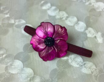 Mother of Pearl Flower Hair Tie in Darkest Fuchsia