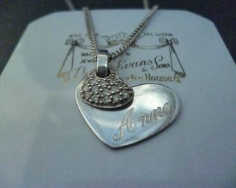"""Reserved Vintage sparkly 'Anna' heart pendant necklace - 925 - sterling silver - CZ - 16"""" necklace"""