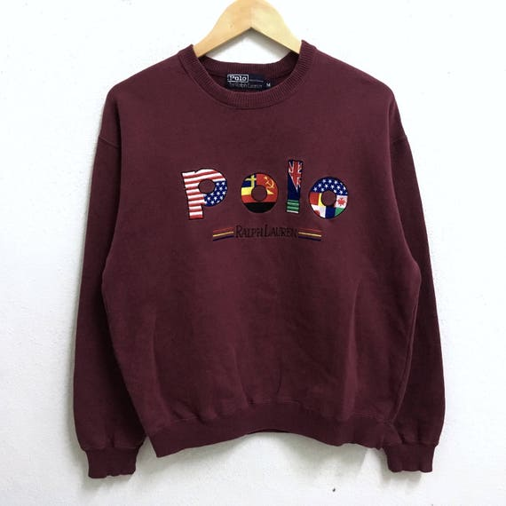 Sweatshirts Ralph Colour Maroon POLO Logo Pullover RARE Size Neck Big Lauren Jumper Crew Flag Embroidery Medium SP58q