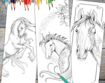 Instant Download Bookmark Coloring Horse Designs, printable  FREE PLUS GIFT