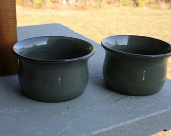 2 Pottery Cereal Bowls Green Glaze NC Pottery