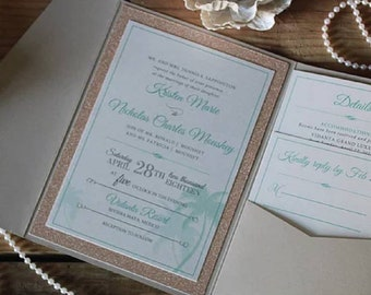 Elegant Romantic Destination Rose Gold Glitter Wedding Invitation