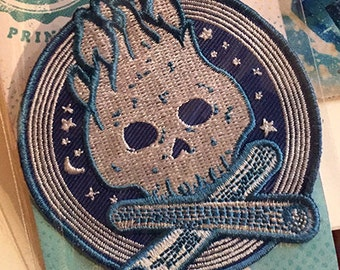 Campfire Skull sew-on patch - free shipping