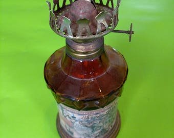 Vintage Star Brand Amber Glass Oil Lamp, Made in Hong Kong