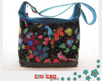 "Large handbag ""Big Trapeze"" flowers & birds (black/Turquoise) L40 x H35 x base: 15 x 30"