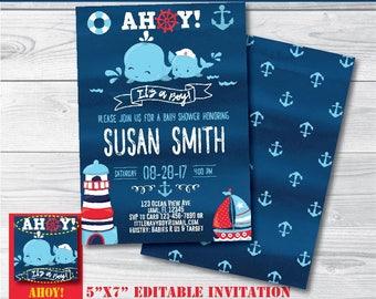 Nautical Baby Shower Invitation-SELF-EDITING Nautical Boy Baby Shower invite-Nautical Boy Party-Ahoy It's a Boy-iLoveDIYprintables-B417