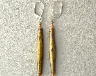 Earrings  Leverbacks,   Made With Tribal African Brass Beads from Niger  by Kate Drew-Wilkinson