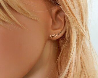 Tiny gold infinity stud earrings, small infinity earrings, dainty stud earrings