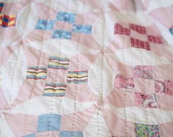 Vintage Flour Sack Pink Star Quilt Freshly Constructed