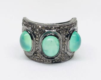 925 Sterling Silver Diamond Ring Set with Natural Chrysoprase Gemstones, Gemstone and Diamond Ring