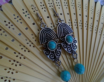 Turquoise Antique Silver Earrings
