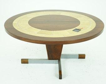 306-080 SALE! Danish Mid Century Modern Rosewood Tiled Round Coffee Table