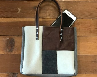 Sweet Butter Small Color-Blocked Leather Tote with Brown Leather Carry Straps