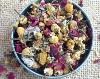 Rose, Lavender and Chamomile Herbal Tea - Organic Herbal Tea - dried lavender - dried rose - dried chamomile - relaxation tea - calming tea