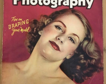 Vintage Popular Photography Magazine- January 1939- vintage Camera Ads- pinup girl cover