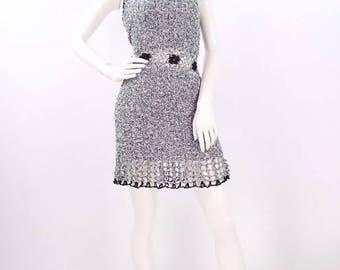 70s crochet dress/1970s bohemian crochet dress/boho crochet dress