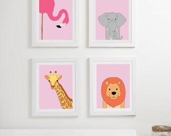 Safari nursery prints, girl baby room decor, pink wall art, elephant print, giraffe print, flamingo print, kids animal art, kids prints