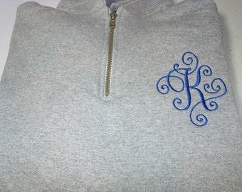 Monogram Sweatshirt, Quarter Zip Monogram Sweatshirt