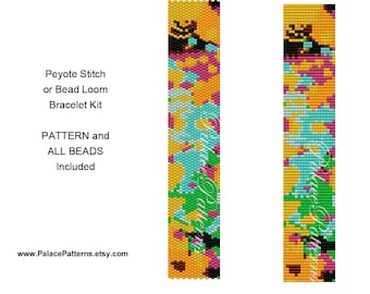 Kit for Bead Loom Weaving Bracelet or Peyote Stitch Bracelet Kit - Pattern and Delica Bead Colors Included - PP411